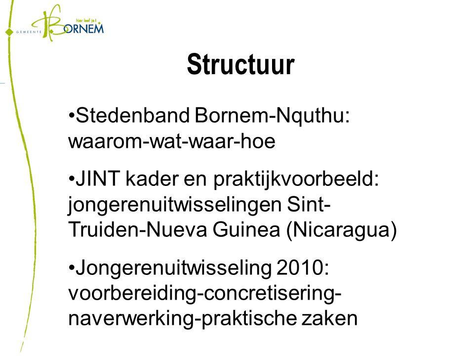 Structuur Stedenband Bornem-Nquthu: waarom-wat-waar-hoe JINT kader en praktijkvoorbeeld: jongerenuitwisselingen Sint- Truiden-Nueva Guinea (Nicaragua) Jongerenuitwisseling 2010: voorbereiding-concretisering- naverwerking-praktische zaken
