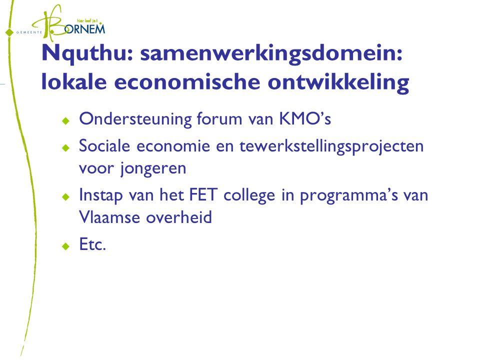 Nquthu: samenwerkingsdomein: lokale economische ontwikkeling  Ondersteuning forum van KMO's  Sociale economie en tewerkstellingsprojecten voor jongeren  Instap van het FET college in programma's van Vlaamse overheid  Etc.