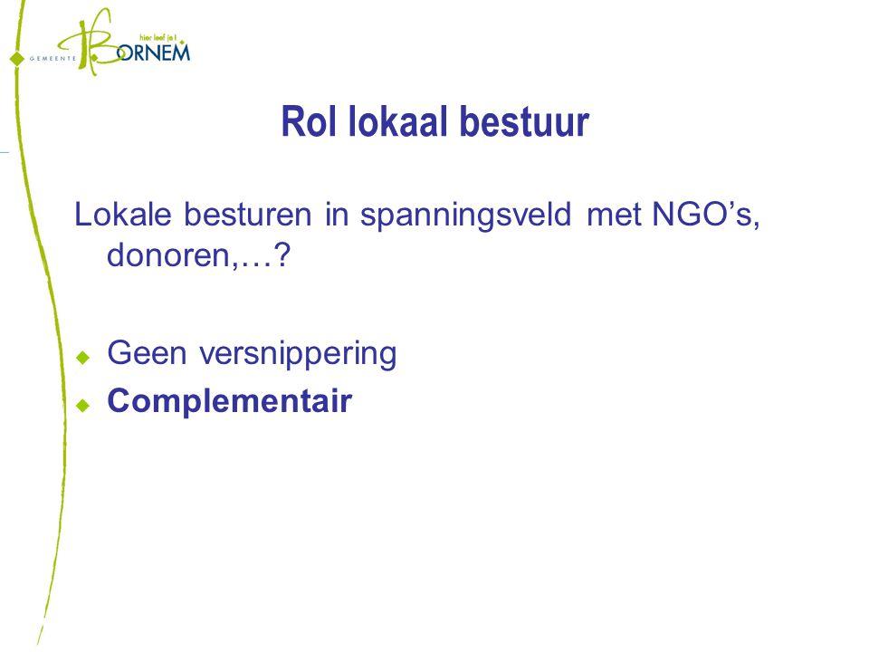 Rol lokaal bestuur Lokale besturen in spanningsveld met NGO's, donoren,….