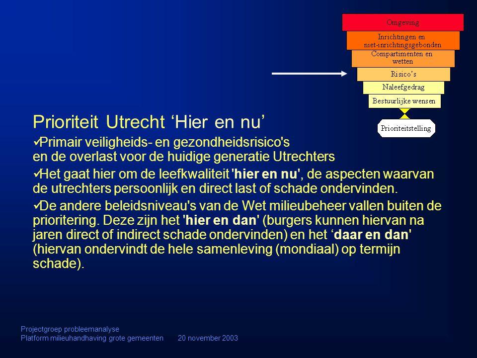 Prioriteit Utrecht 'Hier en nu' Primair veiligheids- en gezondheidsrisico's en de overlast voor de huidige generatie Utrechters Het gaat hier om de le