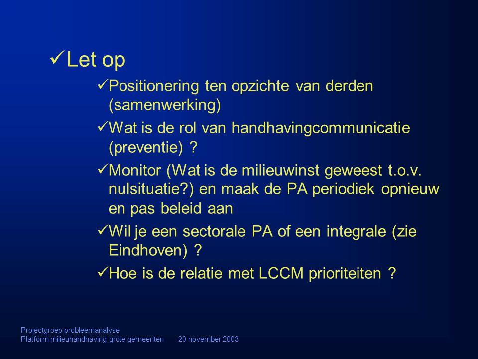 Let op Positionering ten opzichte van derden (samenwerking) Wat is de rol van handhavingcommunicatie (preventie) ? Monitor (Wat is de milieuwinst gewe