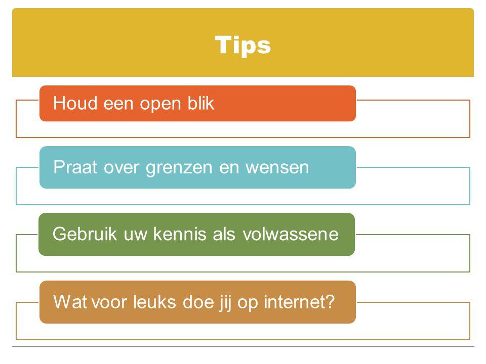 Tips Houd een open blik Praat over grenzen en wensen Gebruik uw kennis als volwassene Wat voor leuks doe jij op internet?