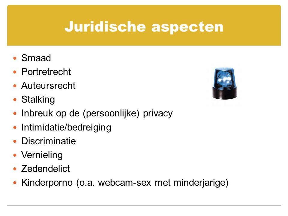 Juridische aspecten Smaad Portretrecht Auteursrecht Stalking Inbreuk op de (persoonlijke) privacy Intimidatie/bedreiging Discriminatie Vernieling Zede