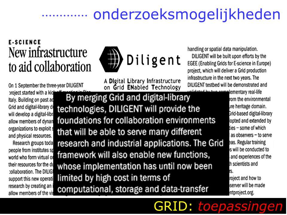  onderzoeksmogelijkheden GRID: toepassingen
