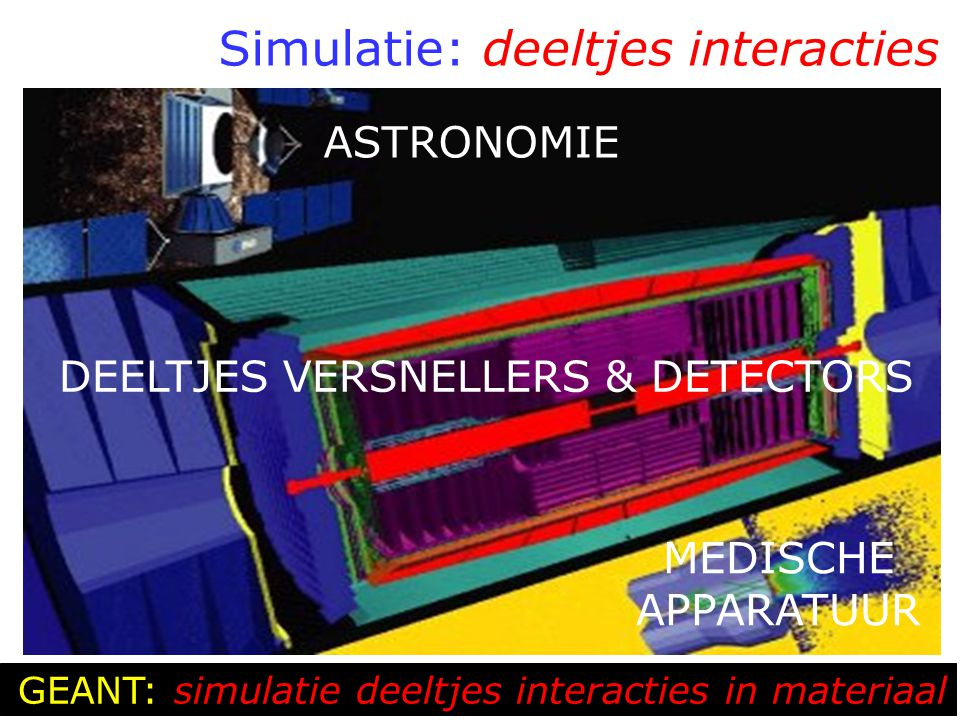 Simulatie: deeltjes interacties ASTRONOMIE DEELTJES VERSNELLERS & DETECTORS MEDISCHE APPARATUUR GEANT: simulatie deeltjes interacties in materiaal