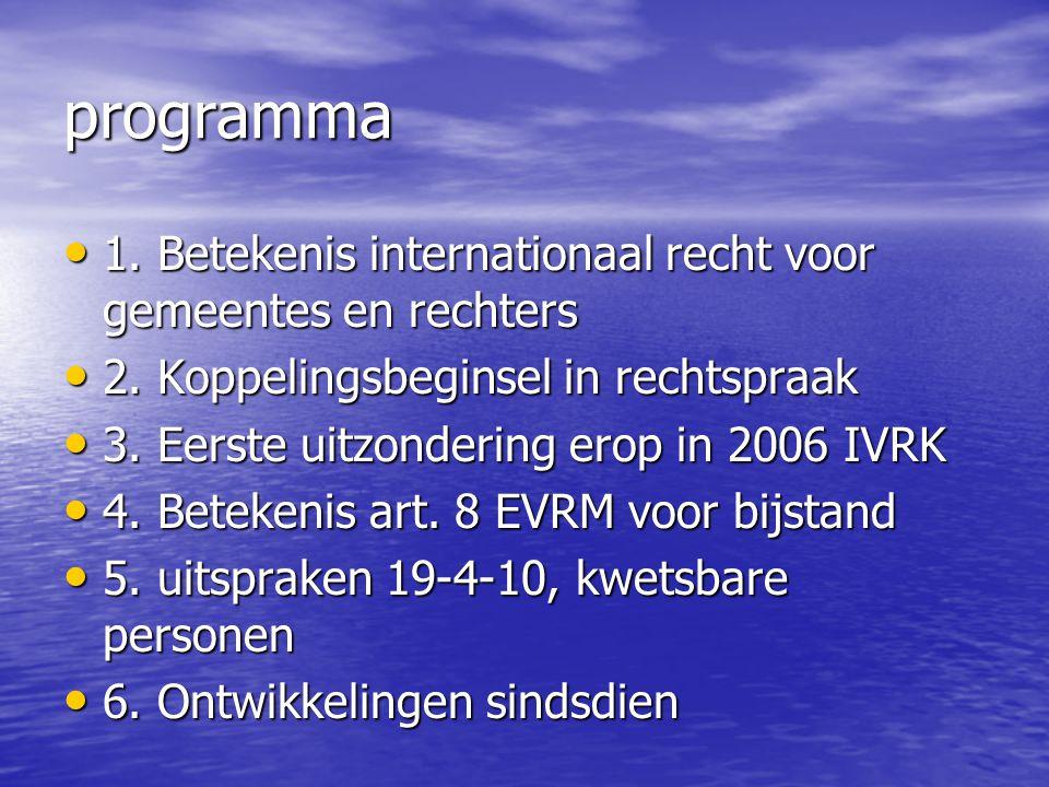 programma 1. Betekenis internationaal recht voor gemeentes en rechters 1. Betekenis internationaal recht voor gemeentes en rechters 2. Koppelingsbegin