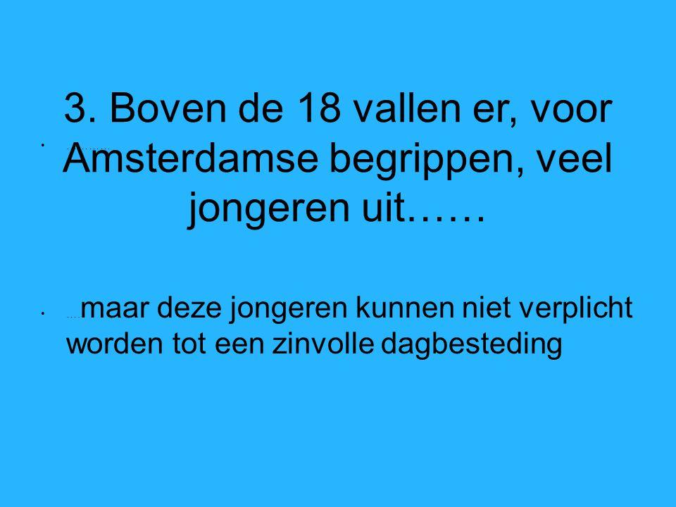 3. Boven de 18 vallen er, voor Amsterdamse begrippen, veel jongeren uit…… ………… ….