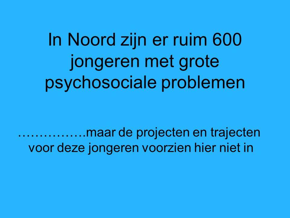 In Noord zijn er ruim 600 jongeren met grote psychosociale problemen …………….maar de projecten en trajecten voor deze jongeren voorzien hier niet in
