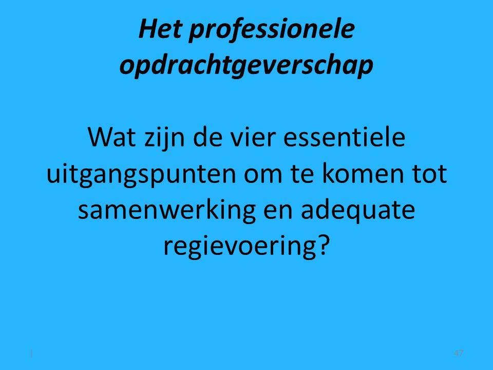 Het professionele opdrachtgeverschap Wat zijn de vier essentiele uitgangspunten om te komen tot samenwerking en adequate regievoering.