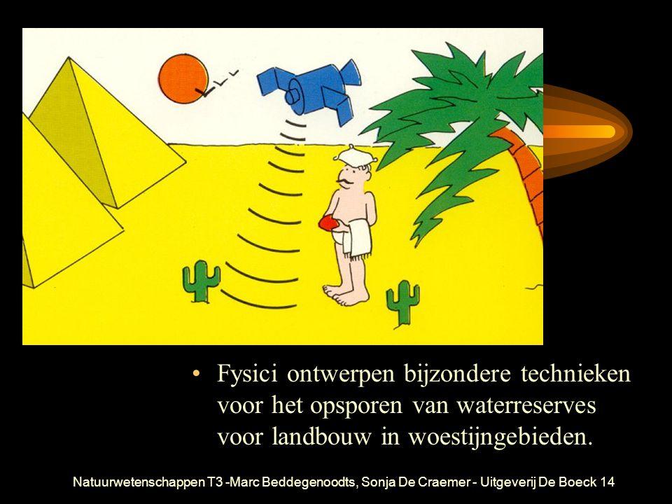 Natuurwetenschappen T3 -Marc Beddegenoodts, Sonja De Craemer - Uitgeverij De Boeck14 Fysici ontwerpen bijzondere technieken voor het opsporen van waterreserves voor landbouw in woestijngebieden.