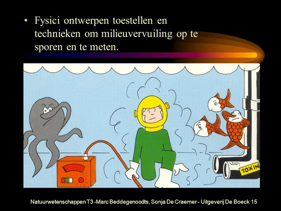 Natuurwetenschappen T3 -Marc Beddegenoodts, Sonja De Craemer - Uitgeverij De Boeck15 Fysici ontwerpen toestellen en technieken om milieuvervuiling op te sporen en te meten.