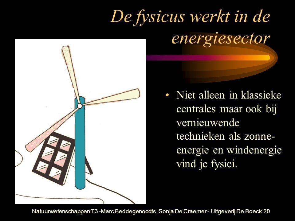 Natuurwetenschappen T3 -Marc Beddegenoodts, Sonja De Craemer - Uitgeverij De Boeck20 De fysicus werkt in de energiesector Niet alleen in klassieke centrales maar ook bij vernieuwende technieken als zonne- energie en windenergie vind je fysici.