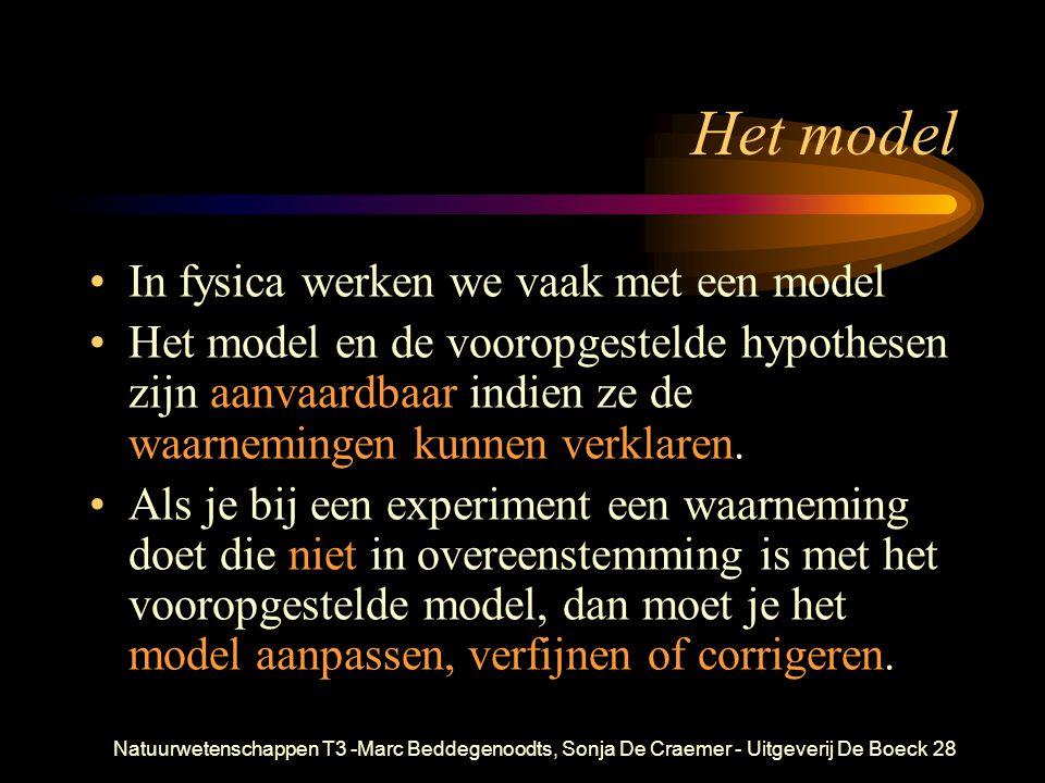 Natuurwetenschappen T3 -Marc Beddegenoodts, Sonja De Craemer - Uitgeverij De Boeck28 Het model In fysica werken we vaak met een model Het model en de vooropgestelde hypothesen zijn aanvaardbaar indien ze de waarnemingen kunnen verklaren.