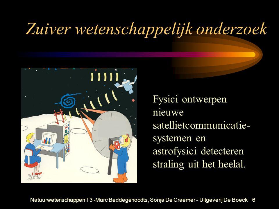 Natuurwetenschappen T3 -Marc Beddegenoodts, Sonja De Craemer - Uitgeverij De Boeck6 Zuiver wetenschappelijk onderzoek Fysici ontwerpen nieuwe satellietcommunicatie- systemen en astrofysici detecteren straling uit het heelal.
