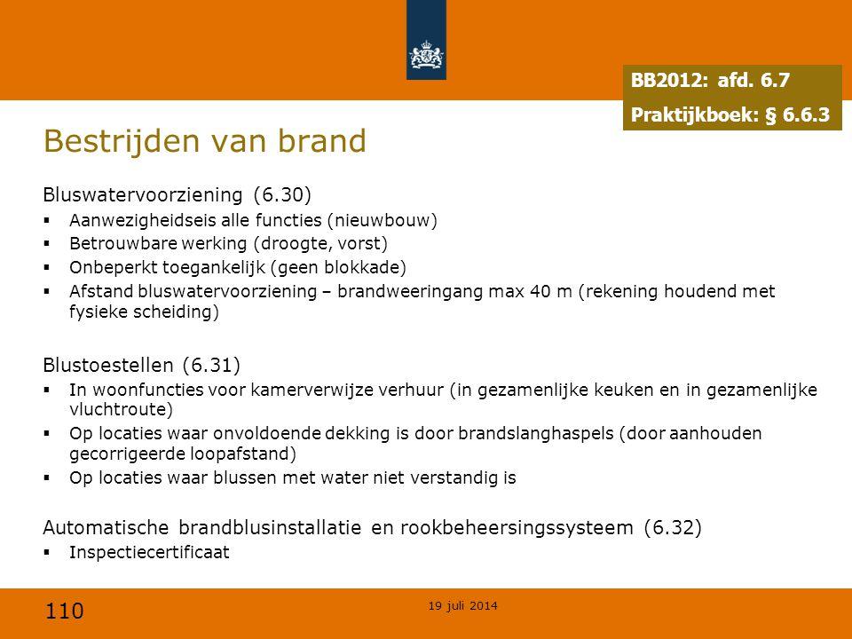 110 Bestrijden van brand Bluswatervoorziening (6.30)  Aanwezigheidseis alle functies (nieuwbouw)  Betrouwbare werking (droogte, vorst)  Onbeperkt t