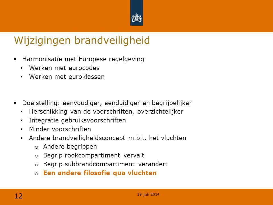 12 Wijzigingen brandveiligheid  Harmonisatie met Europese regelgeving Werken met eurocodes Werken met euroklassen  Doelstelling: eenvoudiger, eendui