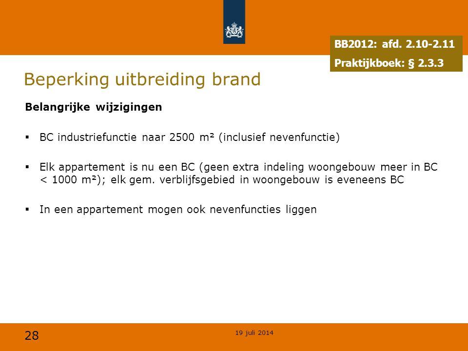 28 Beperking uitbreiding brand Belangrijke wijzigingen  BC industriefunctie naar 2500 m² (inclusief nevenfunctie)  Elk appartement is nu een BC (gee