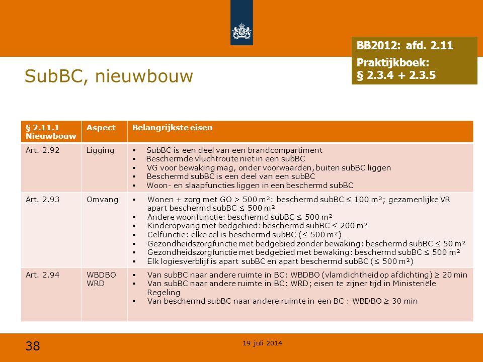 38 SubBC, nieuwbouw 19 juli 2014 § 2.11.1 Nieuwbouw AspectBelangrijkste eisen Art. 2.92Ligging  SubBC is een deel van een brandcompartiment  Bescher