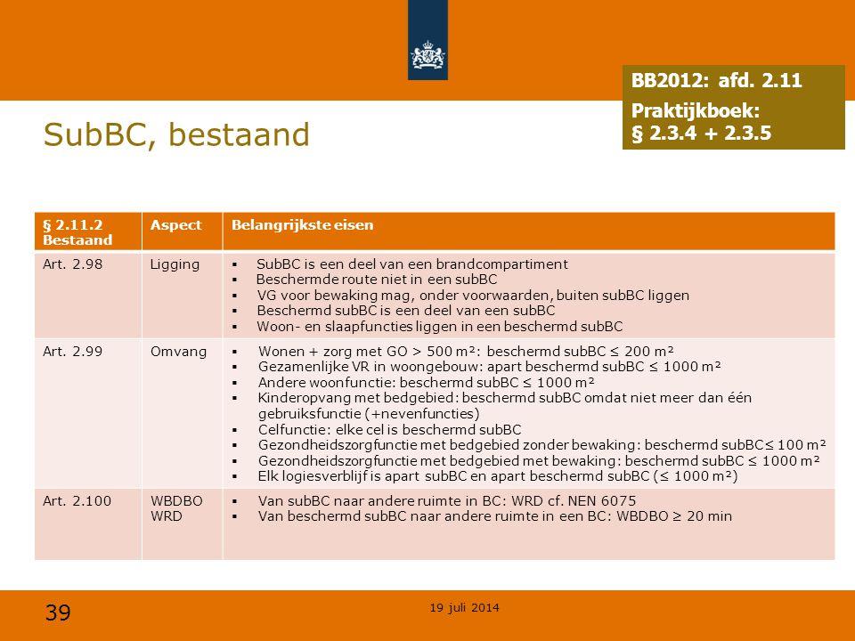 39 SubBC, bestaand 19 juli 2014 § 2.11.2 Bestaand AspectBelangrijkste eisen Art. 2.98Ligging  SubBC is een deel van een brandcompartiment  Beschermd