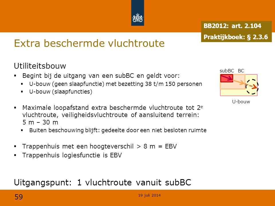 59 Extra beschermde vluchtroute Utiliteitsbouw  Begint bij de uitgang van een subBC en geldt voor:  U-bouw (geen slaapfunctie) met bezetting 38 t/m