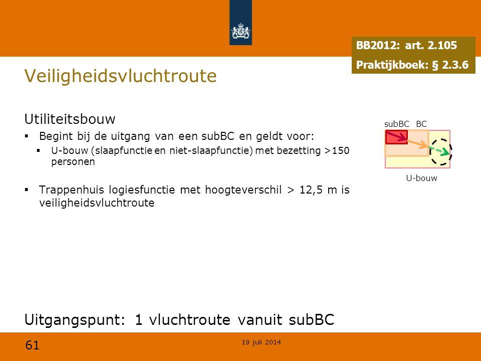 61 Veiligheidsvluchtroute Utiliteitsbouw  Begint bij de uitgang van een subBC en geldt voor:  U-bouw (slaapfunctie en niet-slaapfunctie) met bezetti