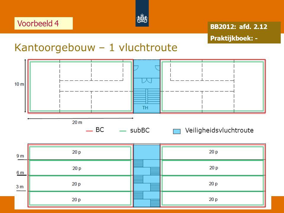 65 Kantoorgebouw – 1 vluchtroute 19 juli 2014 Voorbeeld 4 BB2012: afd. 2.12 Praktijkboek: - BC subBCVeiligheidsvluchtroute