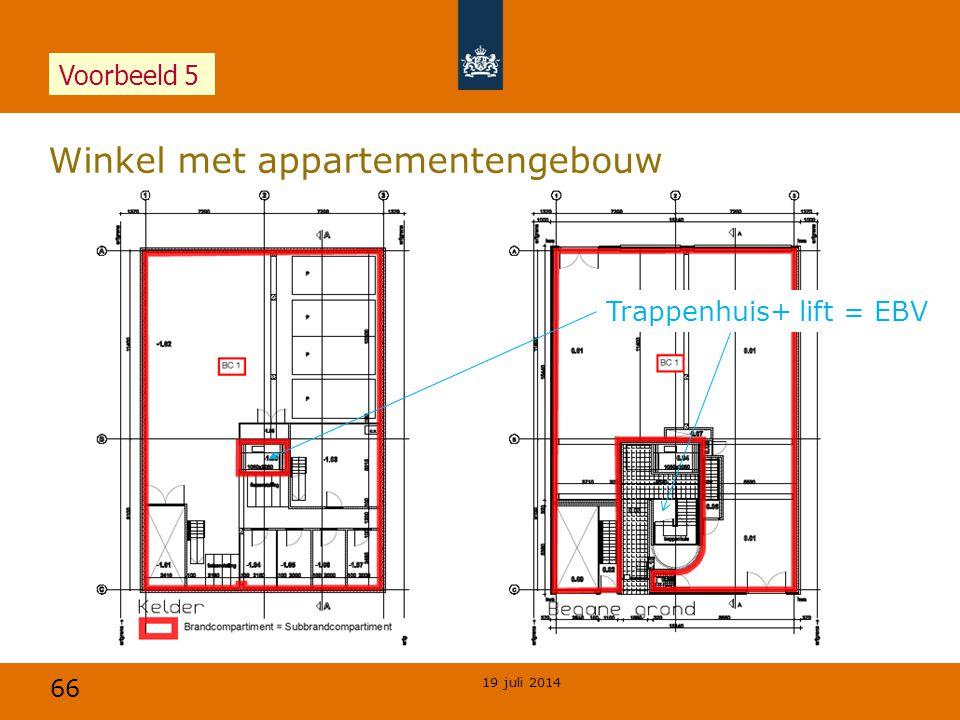 66 Winkel met appartementengebouw 19 juli 2014 Voorbeeld 5 Trappenhuis+ lift = EBV