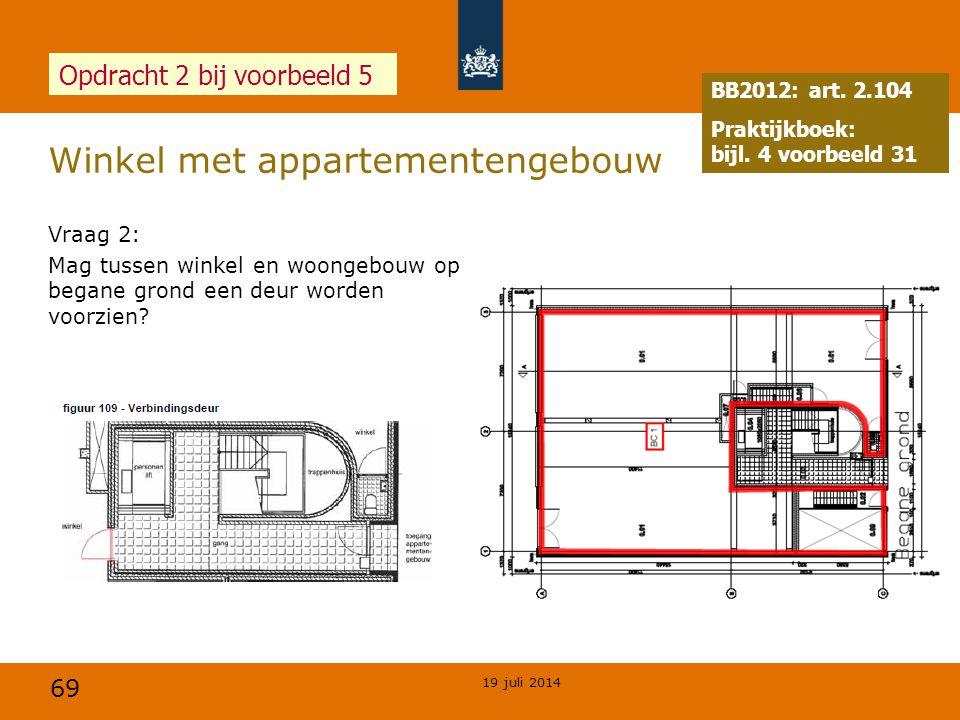 69 Winkel met appartementengebouw 19 juli 2014 Opdracht 2 bij voorbeeld 5 Vraag 2: Mag tussen winkel en woongebouw op begane grond een deur worden voo