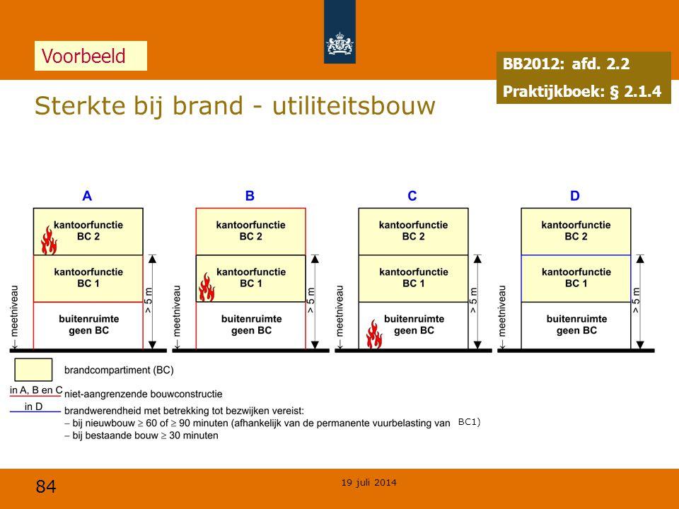 84 19 juli 2014 Sterkte bij brand - utiliteitsbouw BB2012: afd. 2.2 Praktijkboek: § 2.1.4 Voorbeeld BC1)