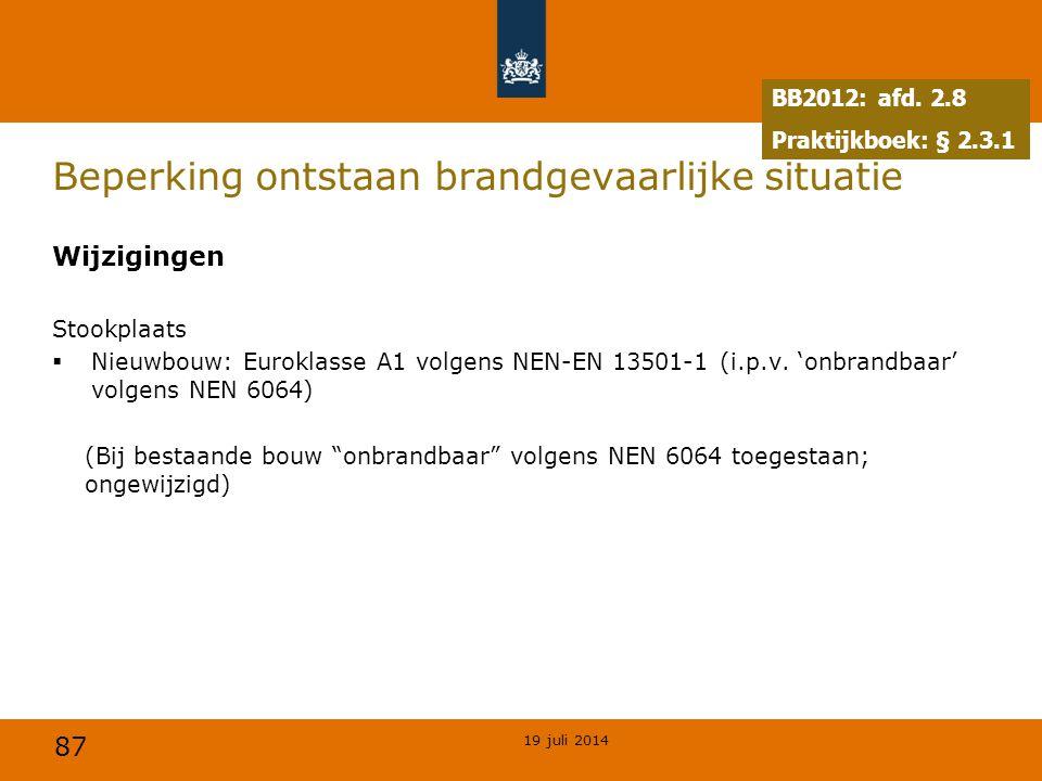87 Beperking ontstaan brandgevaarlijke situatie Wijzigingen Stookplaats  Nieuwbouw: Euroklasse A1 volgens NEN-EN 13501-1 (i.p.v. 'onbrandbaar' volgen