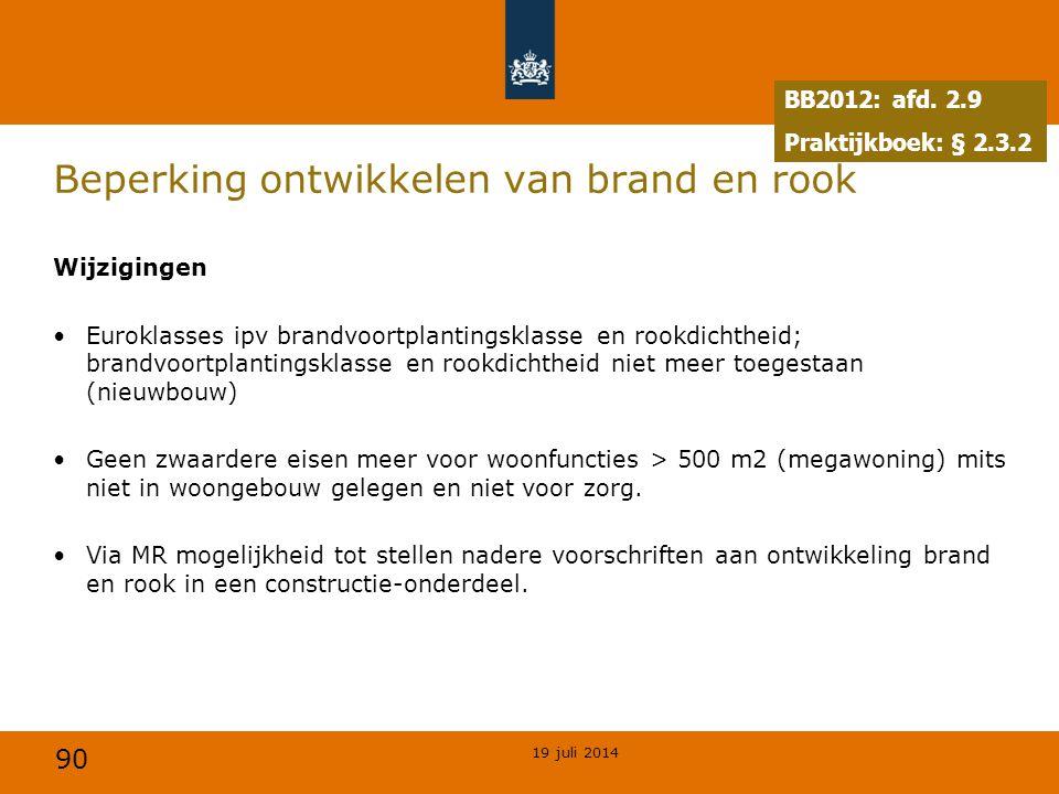 90 Beperking ontwikkelen van brand en rook Wijzigingen Euroklasses ipv brandvoortplantingsklasse en rookdichtheid; brandvoortplantingsklasse en rookdi