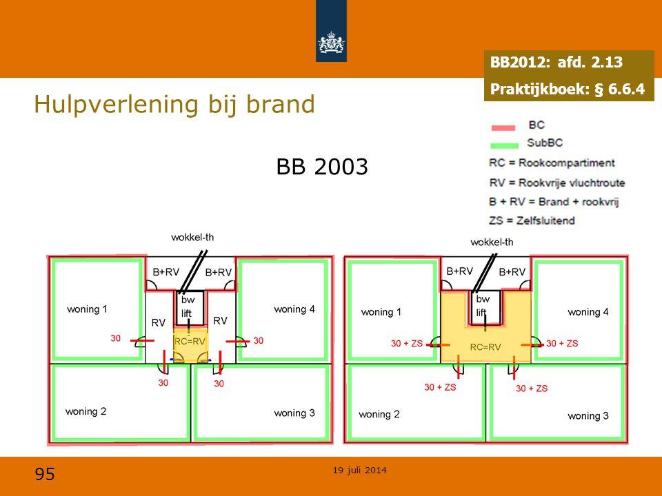 95 Hulpverlening bij brand BB2012: afd. 2.13 Praktijkboek: § 6.6.4 BB 2003 19 juli 2014