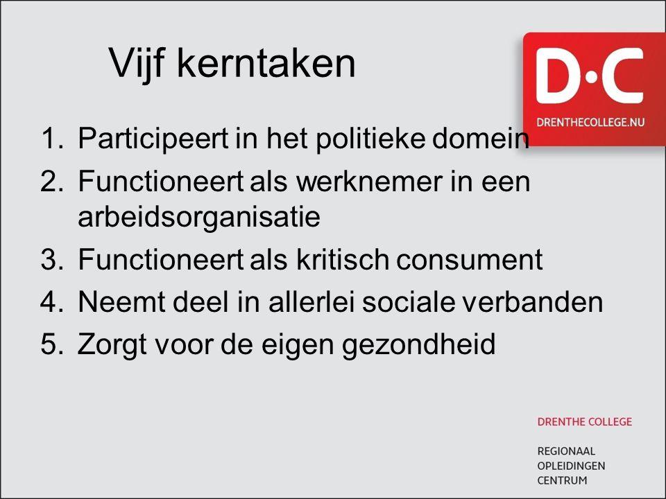 Vijf kerntaken 1.Participeert in het politieke domein 2.Functioneert als werknemer in een arbeidsorganisatie 3.Functioneert als kritisch consument 4.N