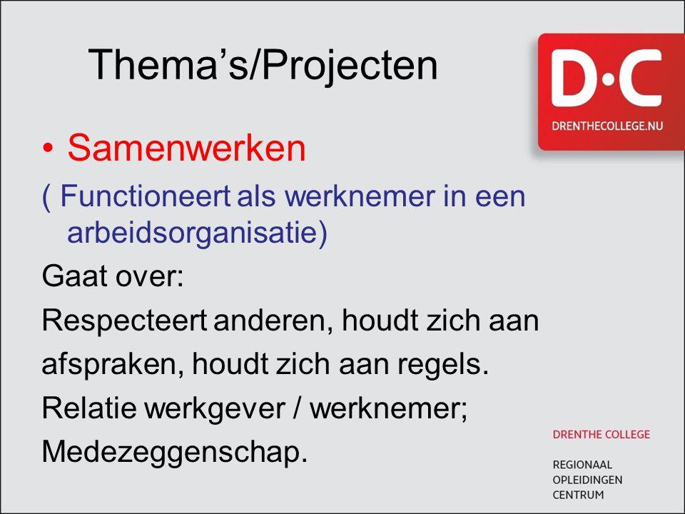 Thema's/Projecten Samenwerken ( Functioneert als werknemer in een arbeidsorganisatie) Gaat over: Respecteert anderen, houdt zich aan afspraken, houdt