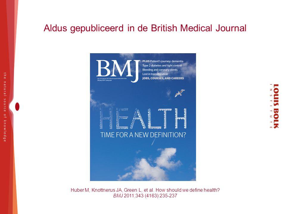 Aldus gepubliceerd in de British Medical Journal Huber M, Knottnerus JA, Green L, et al. How should we define health? BMJ 2011;343 (4163):235-237