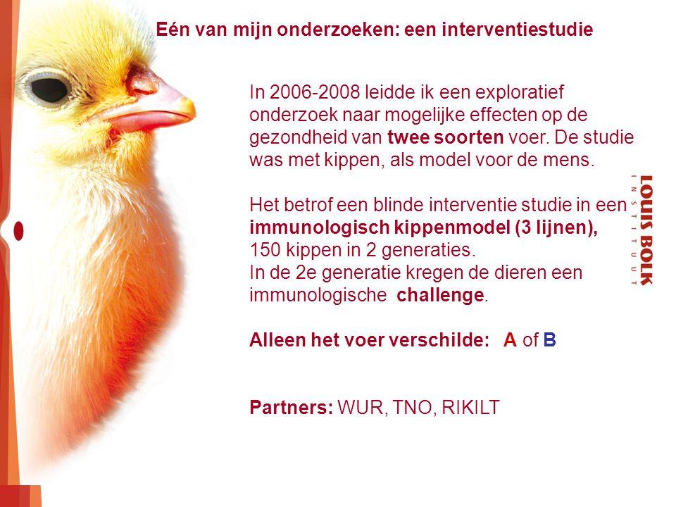 In 2006-2008 leidde ik een exploratief onderzoek naar mogelijke effecten op de gezondheid van twee soorten voer. De studie was met kippen, als model v