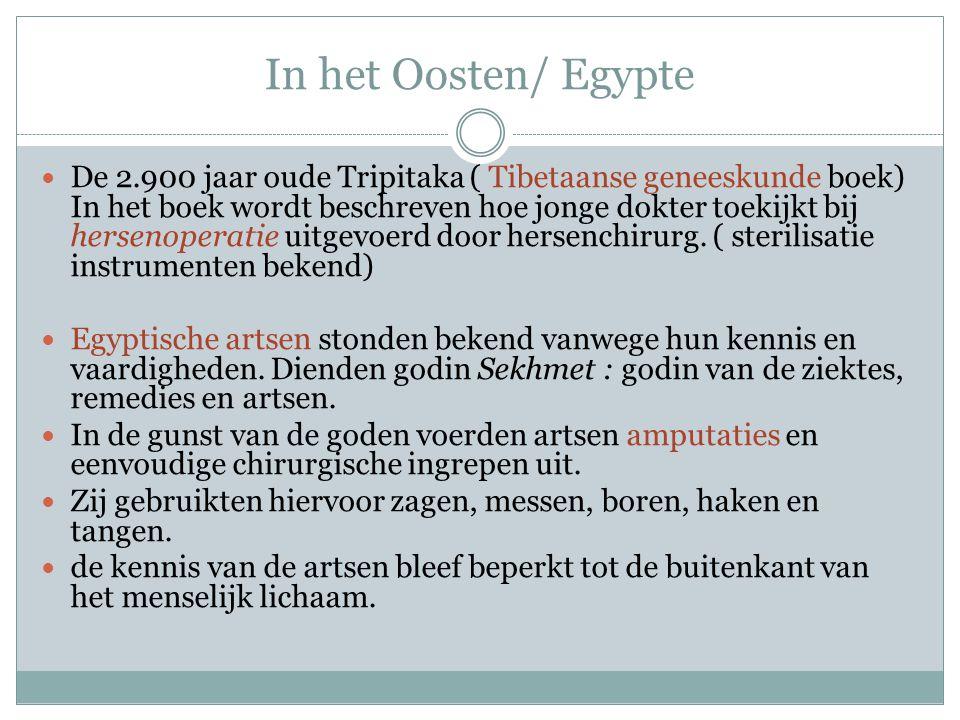 In het Oosten/ Egypte De 2.900 jaar oude Tripitaka ( Tibetaanse geneeskunde boek) In het boek wordt beschreven hoe jonge dokter toekijkt bij hersenoperatie uitgevoerd door hersenchirurg.