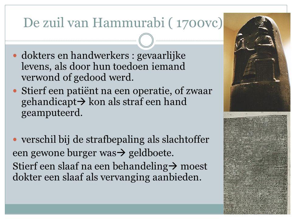 De zuil van Hammurabi ( 1700vc) dokters en handwerkers : gevaarlijke levens, als door hun toedoen iemand verwond of gedood werd.