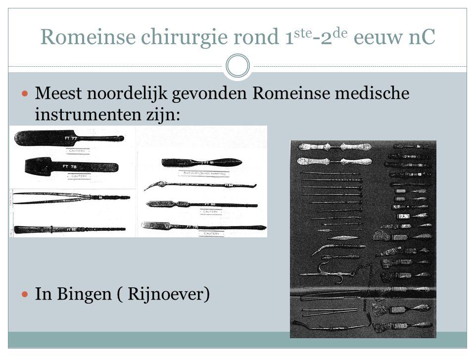 Romeinse chirurgie rond 1 ste -2 de eeuw nC Meest noordelijk gevonden Romeinse medische instrumenten zijn: In Bingen ( Rijnoever)