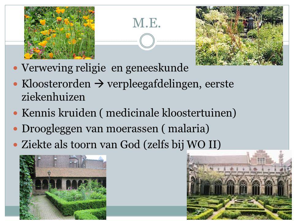 M.E. Verweving religie en geneeskunde Kloosterorden  verpleegafdelingen, eerste ziekenhuizen Kennis kruiden ( medicinale kloostertuinen) Droogleggen