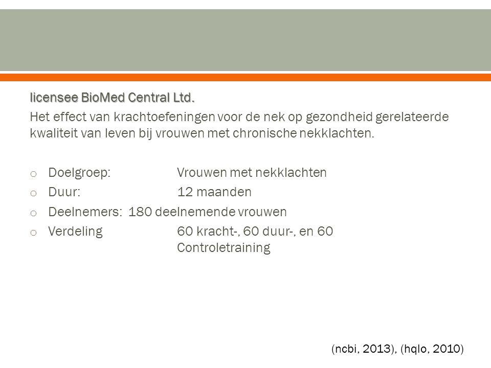 licensee BioMed Central Ltd. Het effect van krachtoefeningen voor de nek op gezondheid gerelateerde kwaliteit van leven bij vrouwen met chronische nek