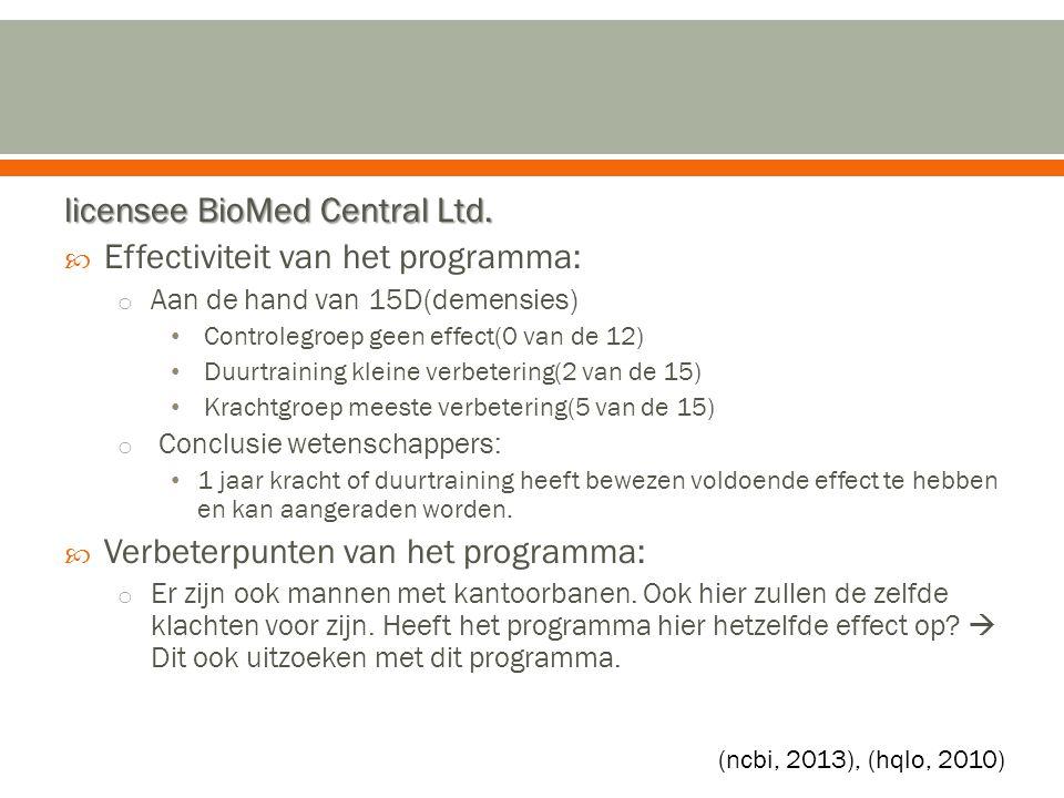 licensee BioMed Central Ltd.  Effectiviteit van het programma: o Aan de hand van 15D(demensies) Controlegroep geen effect(0 van de 12) Duurtraining k