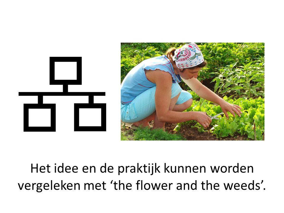 Het idee en de praktijk kunnen worden vergeleken met 'the flower and the weeds'.