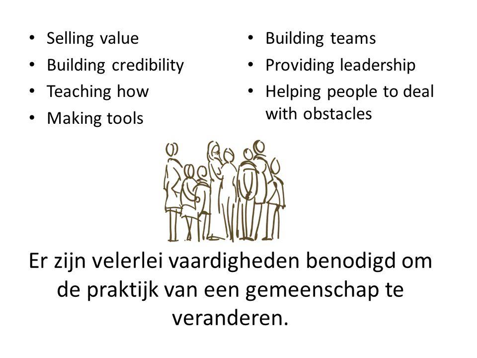 Er zijn velerlei vaardigheden benodigd om de praktijk van een gemeenschap te veranderen.
