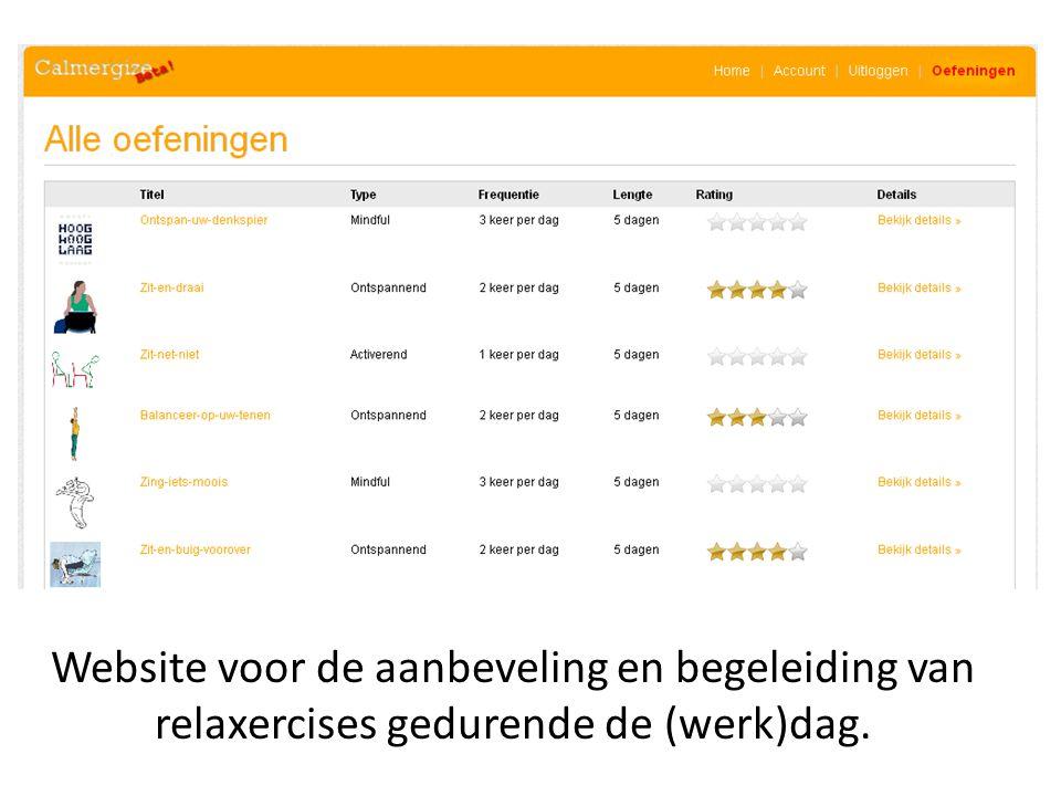 Website voor de aanbeveling en begeleiding van relaxercises gedurende de (werk)dag.