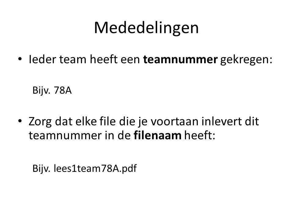 Mededelingen Ieder team heeft een teamnummer gekregen: Bijv.