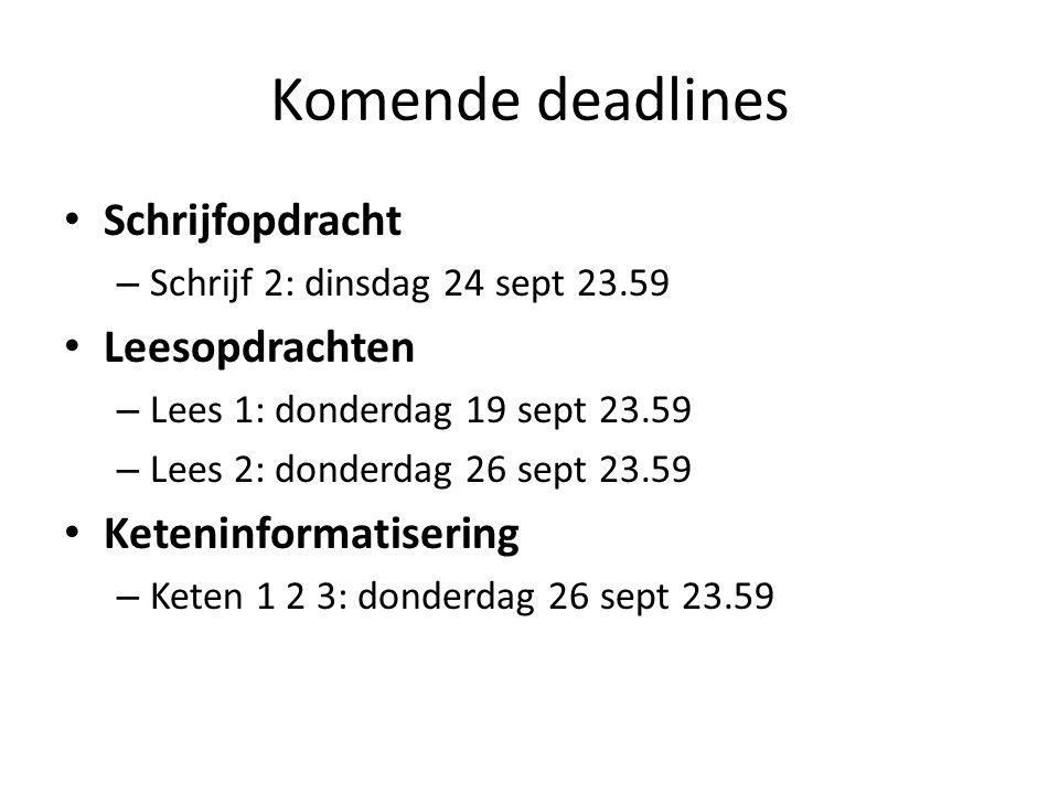 Komende deadlines Schrijfopdracht – Schrijf 2: dinsdag 24 sept 23.59 Leesopdrachten – Lees 1: donderdag 19 sept 23.59 – Lees 2: donderdag 26 sept 23.59 Keteninformatisering – Keten 1 2 3: donderdag 26 sept 23.59