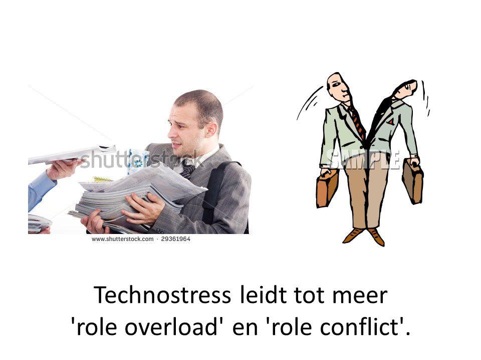 Technostress leidt tot meer role overload en role conflict .