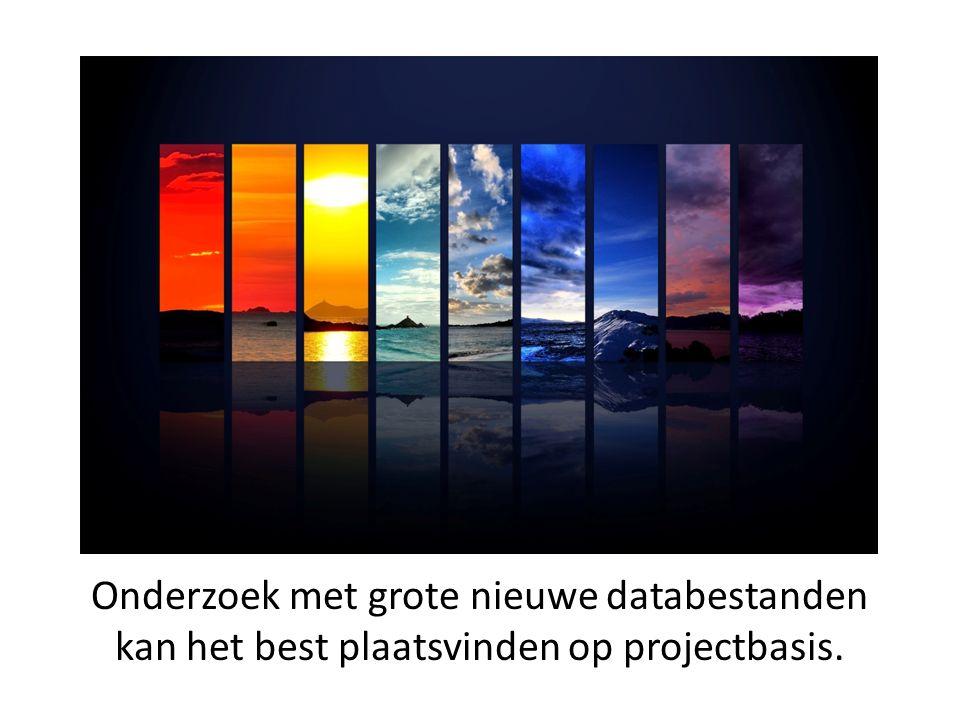 Onderzoek met grote nieuwe databestanden kan het best plaatsvinden op projectbasis.