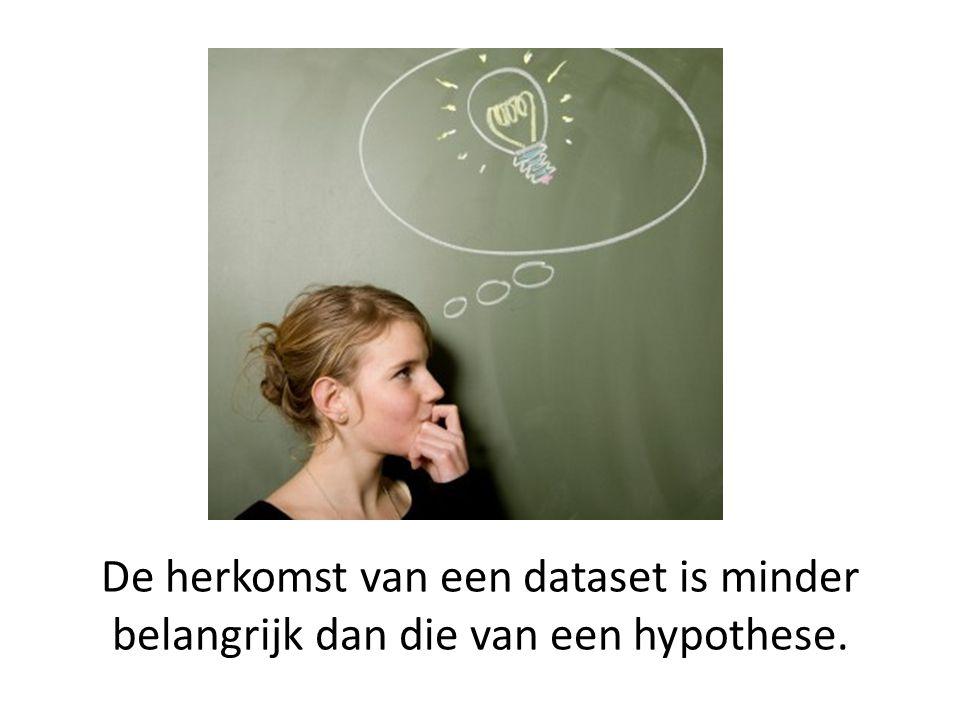 De herkomst van een dataset is minder belangrijk dan die van een hypothese.